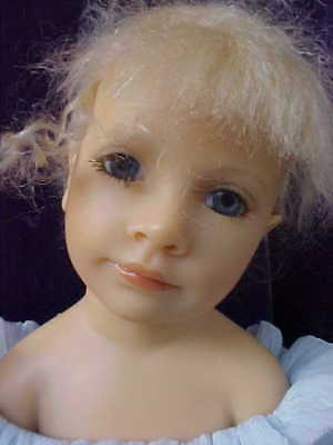 """Beautiful 16"""" Resin Sitting Girl Doll in Blue Paloma by Heloise of France"""
