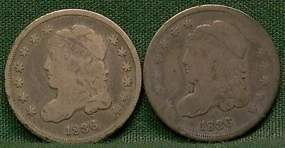 Lot of 2 1836 Capped Bust Half Dimes Low Grade