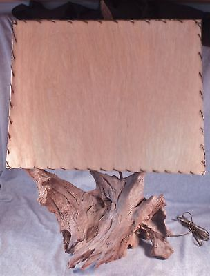 Vintage Mid-Century Driftwood Table Lamp C. 1950's W Original Shade