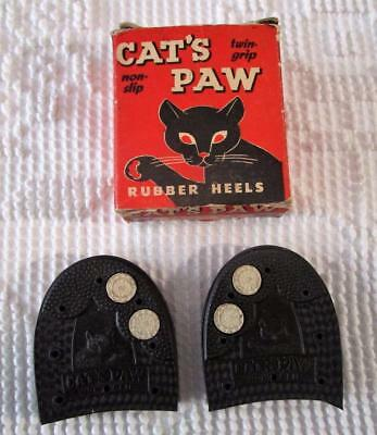 Vintage 1950's Cat's Paw Rubber  Shoe Heels Non Slip Twin Grip In Box