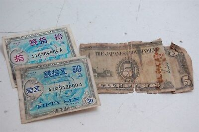 Japanese Government 5 Pesos Paper Money Military Currency WWII