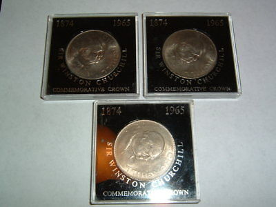 3 Uncirculated 1965 England United Kingdom Churchill Commemorative Crown Coins