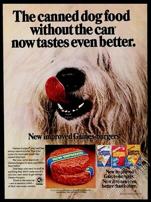 1977 Old English Sheepdog photo Gaines Burgers dog food vintage print ad