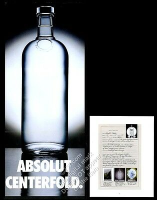 1996 Absolut Centerfold 'naked' vodka bottle with info sheet photo print ad