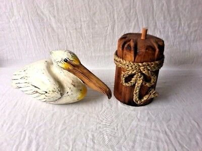 White Pelican On Piling  Painted Hand Carved Wood Tropical Sculpture Bird Decor