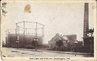 Gas-Light & Fuel Co - Huntington, INDIANA - tanks, smokestack, lamp posts