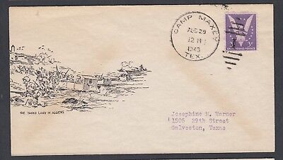 Usa 1943 Dpo Wwii Landing In Algiers Patriotic Cover Camp Maxey To Galveston Tex
