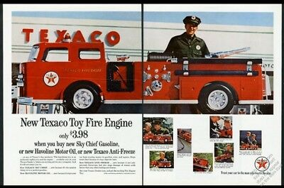 1962 Texaco oil gas toy fire engine truck 8 photo vintage print ad