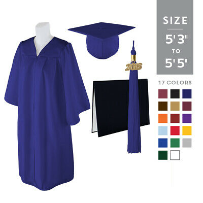 """Standard Matte Graduation Cap and Gown with Matching 2018 Tassel - Size  5'3""""-5'"""