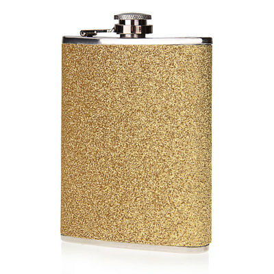 8oz Stainless Steel Hip Flask Liquor Whiskey Alcohol Funnel Container Gold