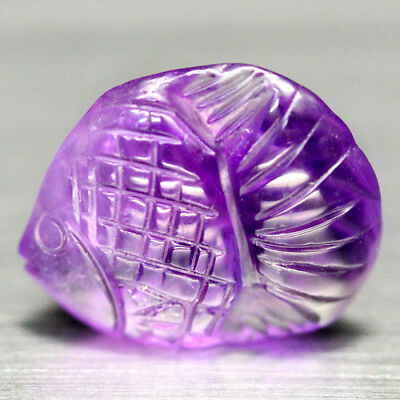 11.69 Ct Natural! Purple Clr Change To Pink Brazilian Amethyst Fish Carved