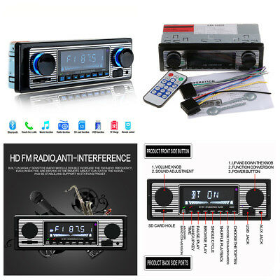 12V Car Stereo Radio Bluetooth In-Dash Head Unit Player FM MP3/USB/SD/AUX&Remote