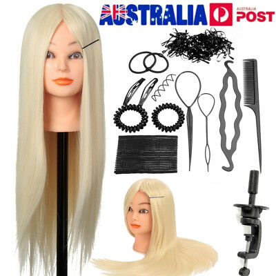 "24"" Training Head Mannequin Salon Hairdressing Doll & Braid Tools Set + Clamp AU"