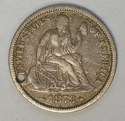 "1873 Seated Liberty Dime Love Token ""1883"" Holed (D-27)"