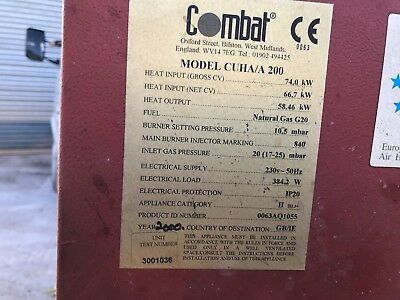 COMBAT CUHA 200 GAS WAREHOUSE UNIT HEATER Industrial