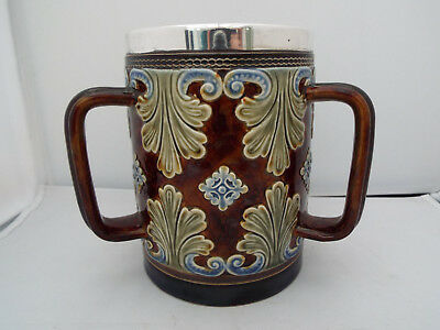 Doulton Lambeth Stoneware Silver Rimmed 3 Handled Tyg/loving Cup Dated 1888-9