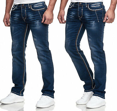 Herren Jeans Hose Washed Straight Cut Regular Stretch