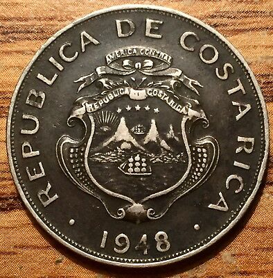 1948 Costa Rica Colon National Arms Coin London Mint