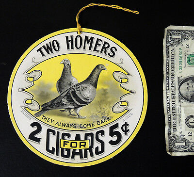 Antique vtg TWO HOMERS Victorian Cardboard CIGAR SIGN Fan Pull Tobacco Pigeon