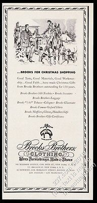 1947 Paul Brown Christmas theme horse dog foxhound art Brooks Brothers print ad