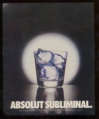 1990 Absolut subliminal words in the ice Vodka vintage print ad