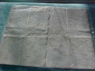 1 Pair Antique Madeira Pillowcases 3-Leaf CLOVER Pattern Never Used 21x36 MIOP