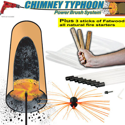 Chimney Sweep Power Sweep use your drill - Various Lengths Plus Fatwood Typhoon