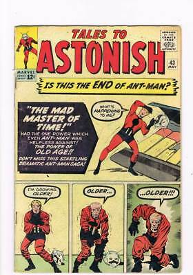 Tales to Astonish # 43 Ant-Man Verses Master of Time ! grade 4.0 scarce book !!