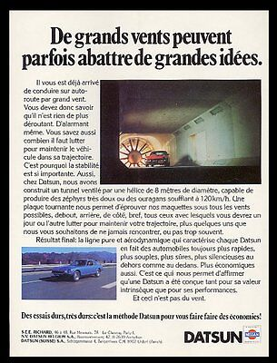1978 Datsun 280-Z 2 car and wind tunnel photo French print ad