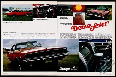 1968 Dodge Charger red car 6 color photo vintage print ad