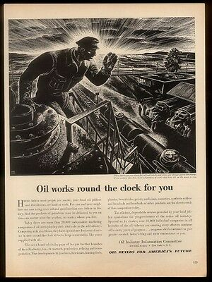 1949 Lynd Ward railroad oil tank car art Oil Industry Info Committee print ad