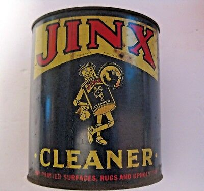 Vintage Jinx Household Cleaner Advertising Can ~ Not Oil ~ Claire Mfg. Chicago