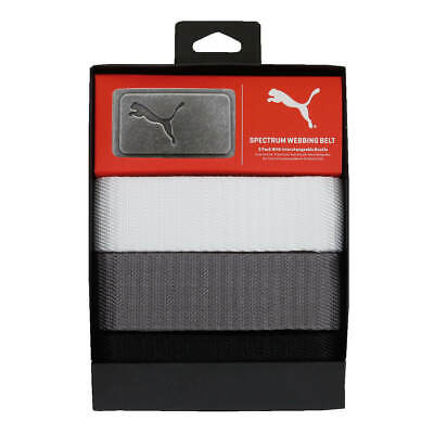 Puma Golf Mens 3 in 1 Cut To Length Metal Buckle Web Belt Pack 32% OFF RRP