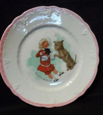 Vintage Child's Buster Brown Plate with Bulldog Tige