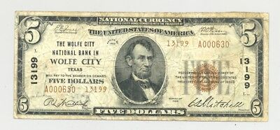 $5 Series 1929 Type 2 Wolfe City, Texas National Banknote Hunt County TX