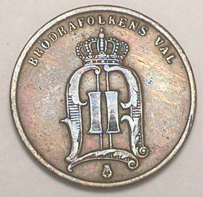 1877 Sweden Swedish 2 Ore Crowned Monogram Coin F+