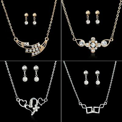 Silver/Gold Crystal Rhinestone Necklace Earrings Wedding Bridal Prom Jewelry Set