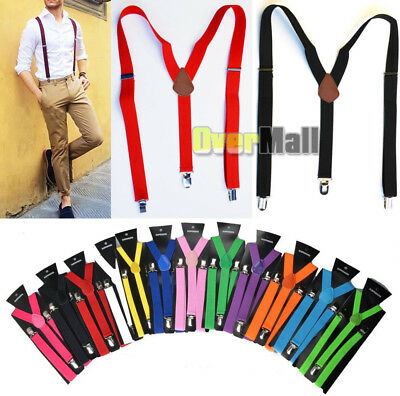 Mens Women Clip-on Suspenders Elastic Y-Shape Adjustable Braces (Regular & Tall)