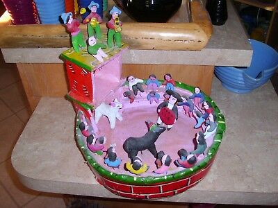 Vintage Mexican Folk Art Bull Ring Made in Mexico