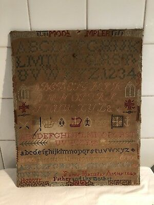 Antique Early Victorian Needlework Sampler By Fanny Astley Dated 1847
