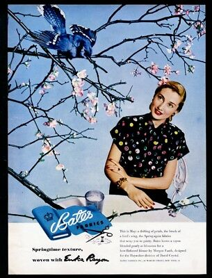 1947 blue jay photo and woman Morgan Fauth blouse Bates Fabrics vintage print ad