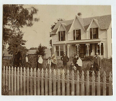 Antique Matted Photo - House with Front Fence - Group of People Standing