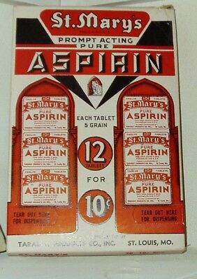 1940 St. Mary's Aspirin Counter Display Country Store Counter Display St. Louis