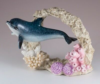 "Dolphin Swimming Through Coral Figurine 6.5"" Long Glossy Finish Resin New!"
