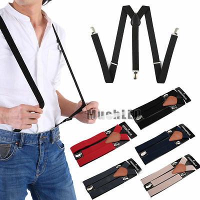 Mens Womens Clip-on Suspenders 1.5 Inch Elastic Y-Shape Adjustable Braces Solids