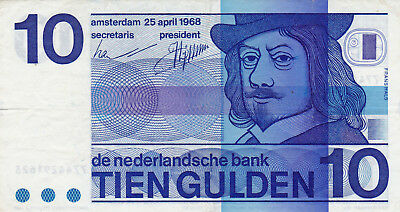 10 Gulden Vf++ Banknote From Netherlands 1968!pick-91
