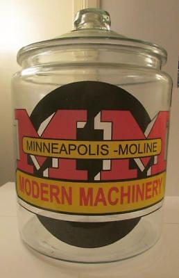 Super RARE Giant Minneapolis Moline Tractor Glass Counter Jar
