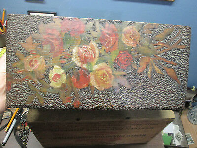 antique FOLK ART wooden carved box BEAUTIFUL FLOWERS inscribed 1904 stunning box