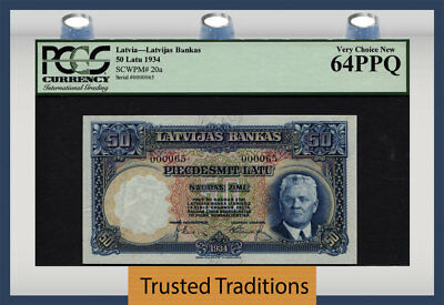 "TT PK 20a 1934 LATVIA 50 LATU LOW SERIAL NUMBER 000065 ""K. ULMANIS"" PCGS 64 PPQ"
