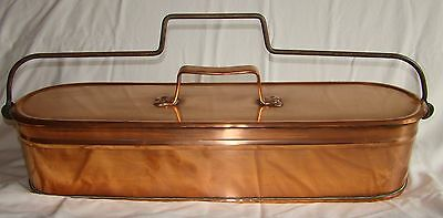 Antique French copper/wrought iron XL FISH POACHER with LID and SKIMMER 1900